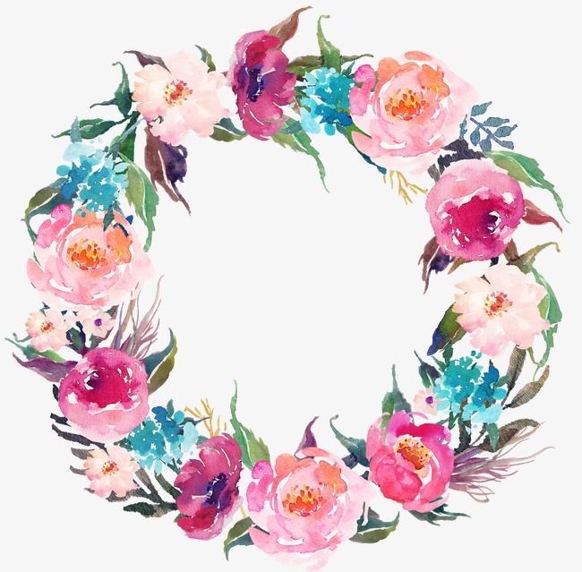Drawing Circular Wreath 21, Watercolor, Round, Flower PNG.