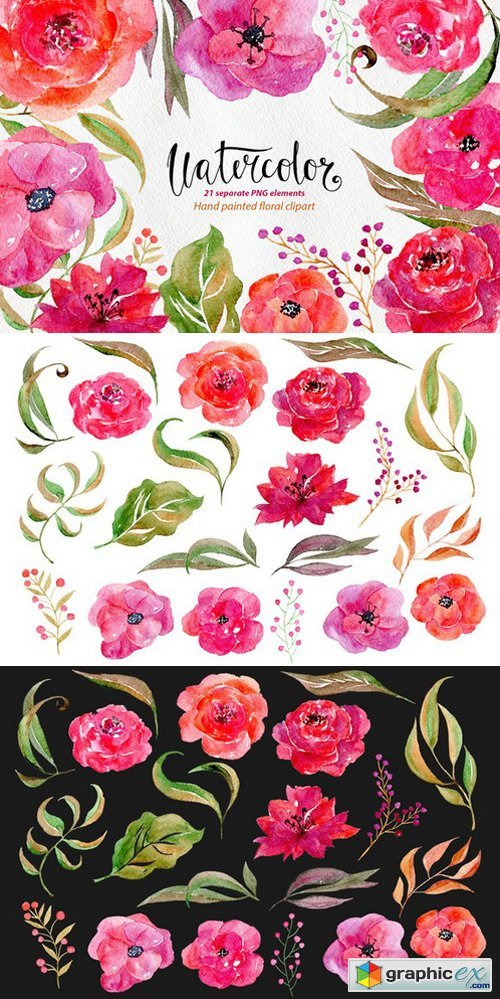 Watercolor flowers, 21 png clipart 676979 » Free Download.