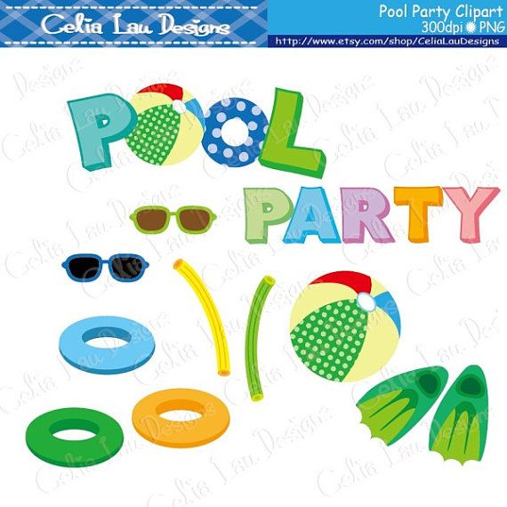 Pool Party Digital Clipart set includes 21 cute clipart + 1.