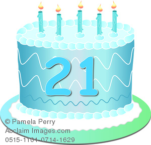 Clip Art Image of a Blue Birthday Cake With the Number 21.