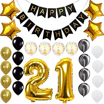Happy 21st Birthday Banner Balloons Set for 21 Years Old Birthday Party  Decoration Supplies Gold Black.