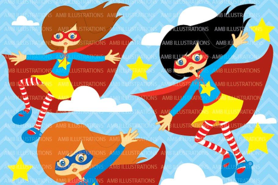 Superhero girls clipart AMB.