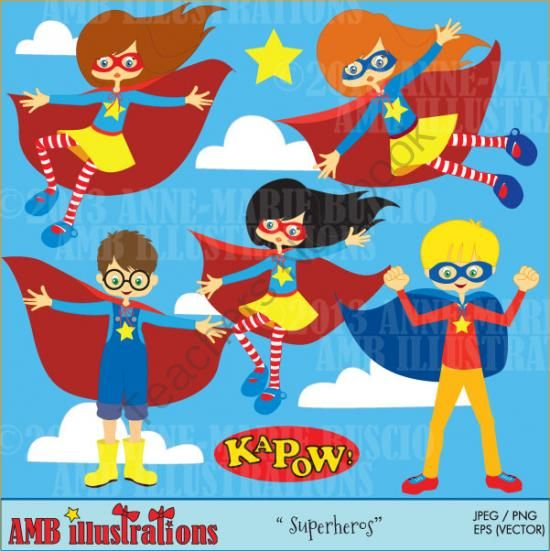 Superhero boys and girls clipart 210 from Bestteachertools.