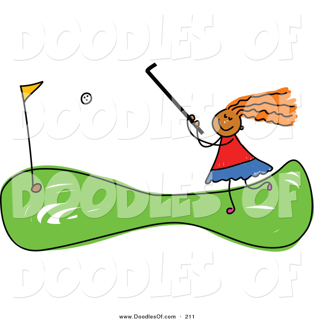 Vector Clipart of a Childs Sketch of a Girl Mini Golfing by Prawny.
