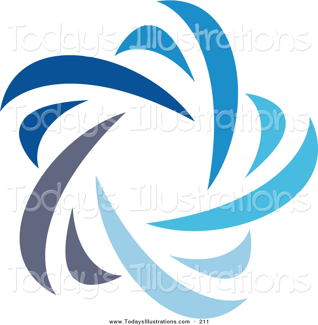 Clipart of a Beautiful Abstract Blue Star Logo Icon over White by.