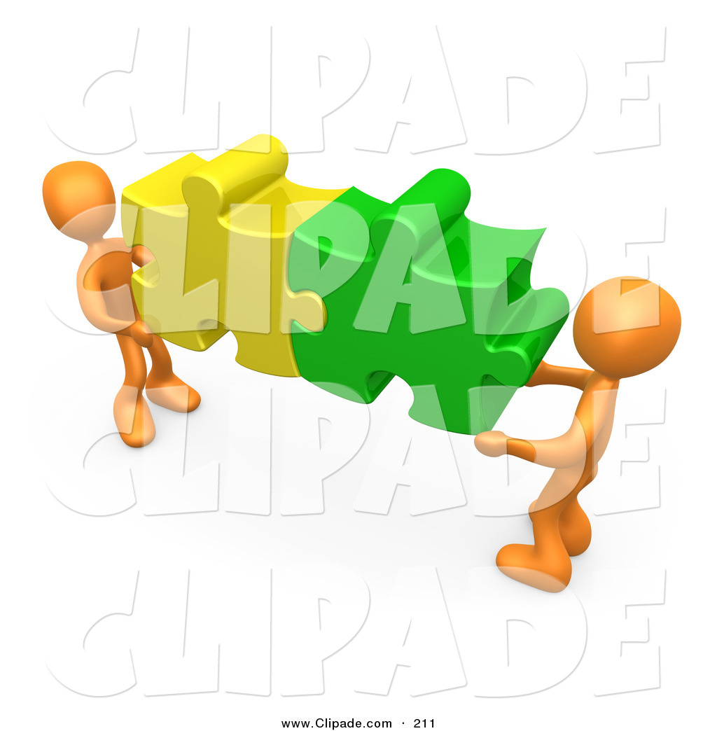 solution clipart clip art of a two 3d orange people holding.