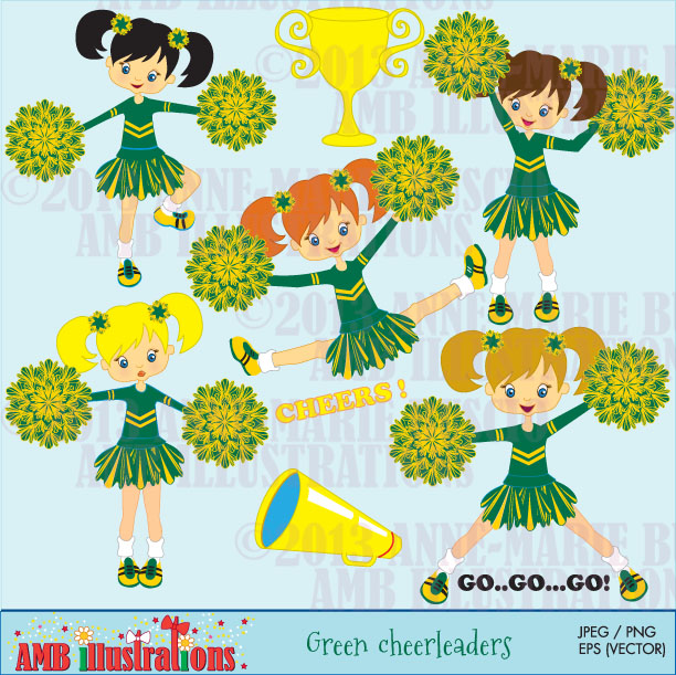 Green cheerleader squad cliparts.