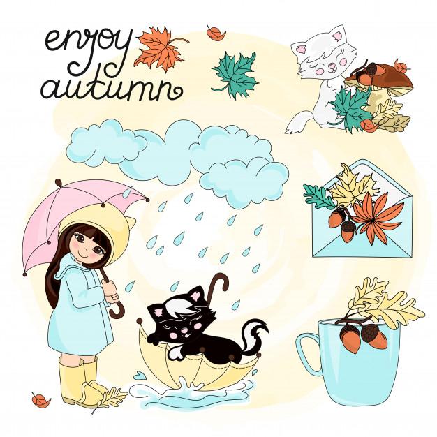 Enjoy autumn autumn clipart vector illustration set color.