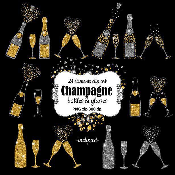 Champagne Clipart. Bottles & glasses glitter overlay clip.