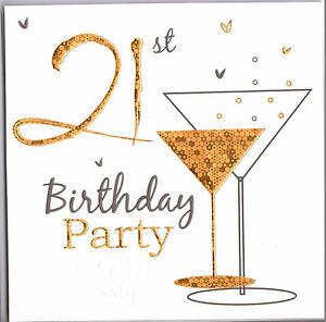 Details about Pack Of Six 21st Birthday Party Invitations Gold Champagne  Glass..