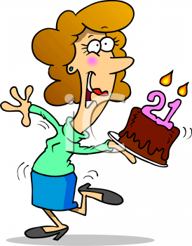 Cartoon of a Girl on Her 21st Birthday.