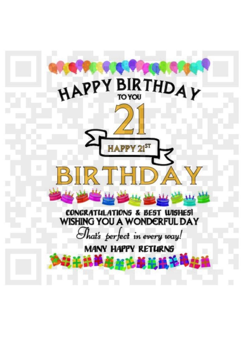 Happy 21st birthday instant download design for sublimation printing, 21st  Birthday clipart for sublimation, Png.