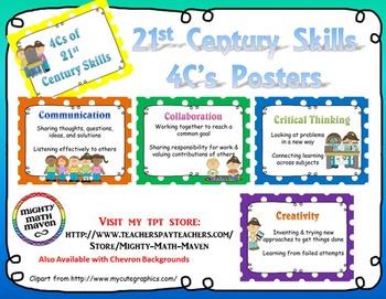 21st Century Skills ~ Four Cs Posters ~ PolkaDot backgrounds.