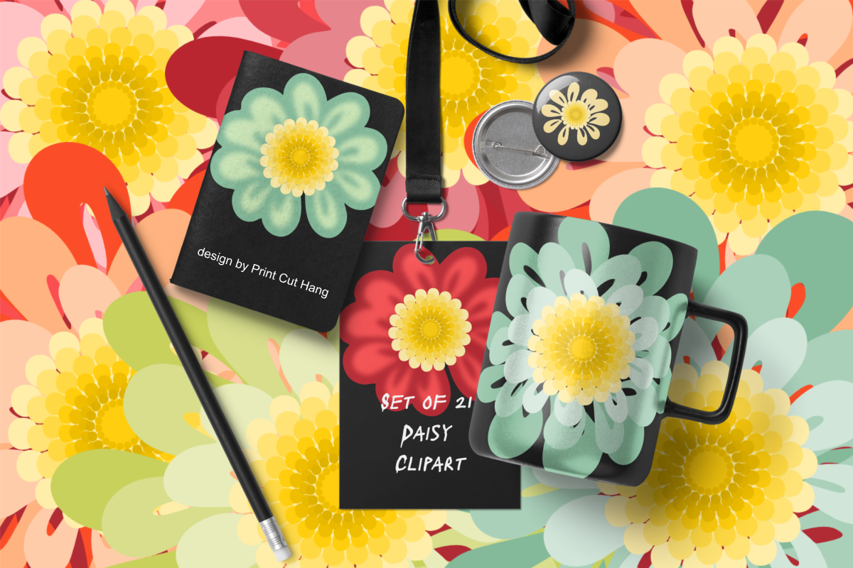 Daisy Flowers Clipart Set Fall Colors PNG Files.