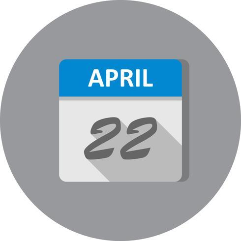 April 22nd Date on a Single Day Calendar.