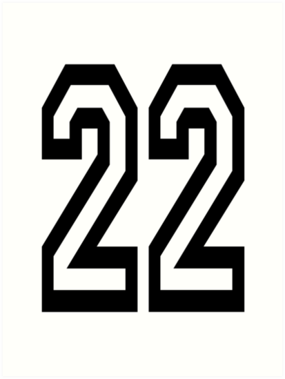 '22, TEAM, SPORTS, NUMBER 22, TWENTY, TWO, Twenty Second, Competition, '  Art Print by TOM HILL.
