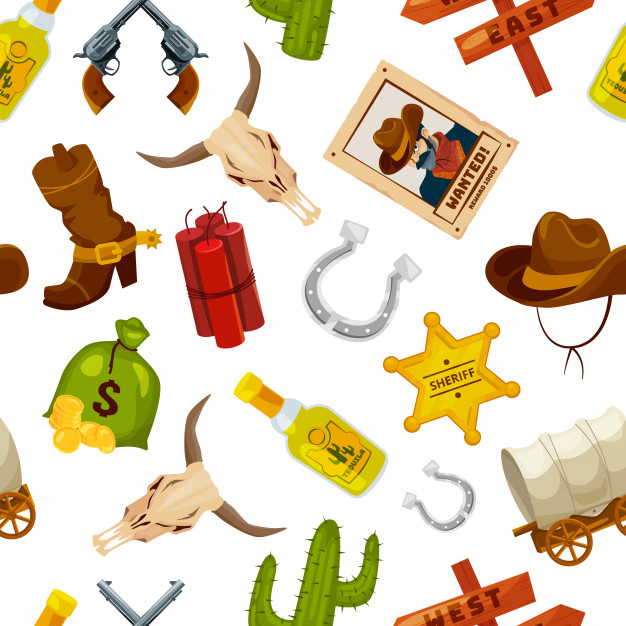 Cowboy, boots, guns and other wild west objects in cartoon.
