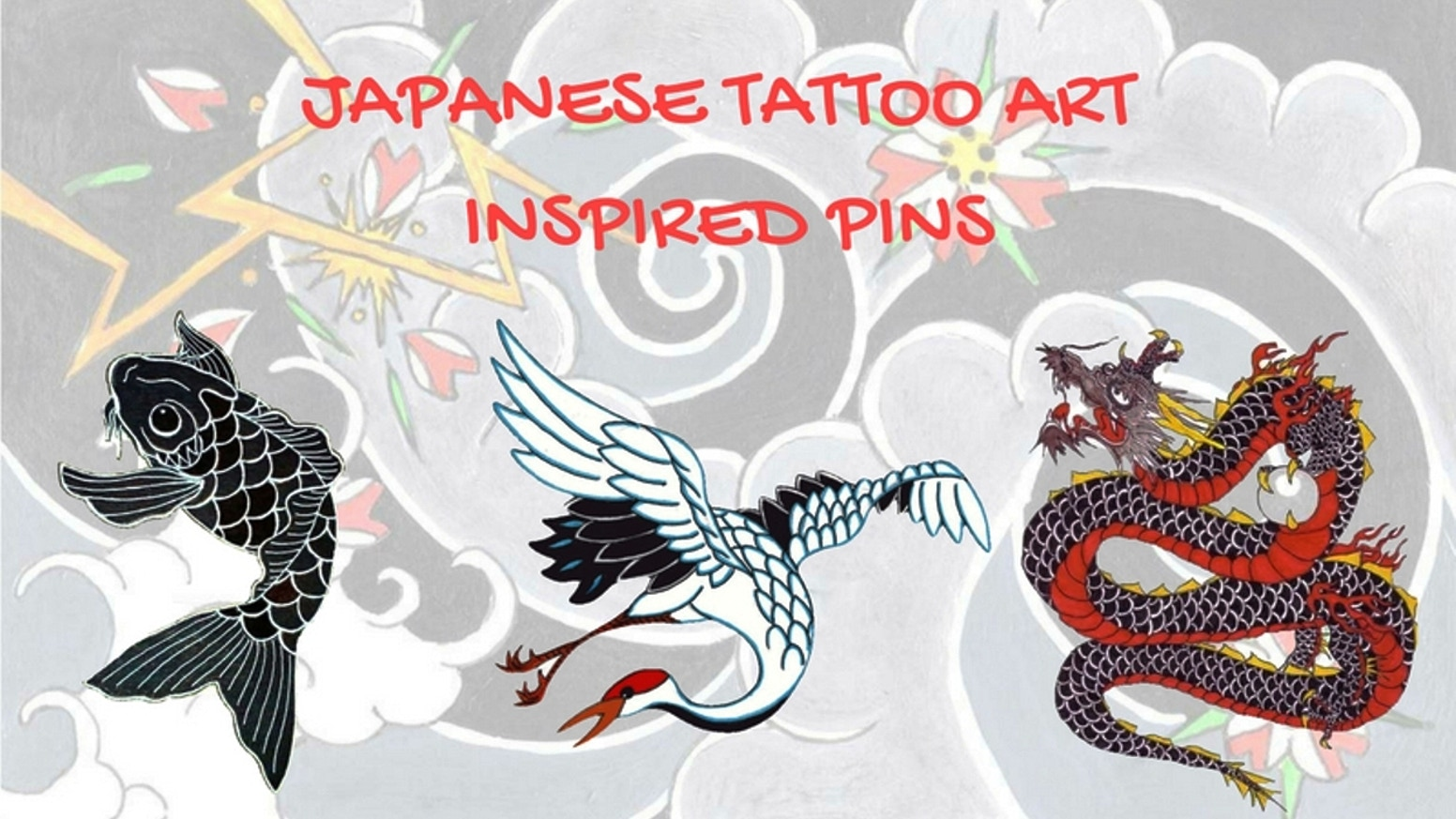 Japanese Tattoo Art Inspired Pins: Koi, Crane and Dragon by.