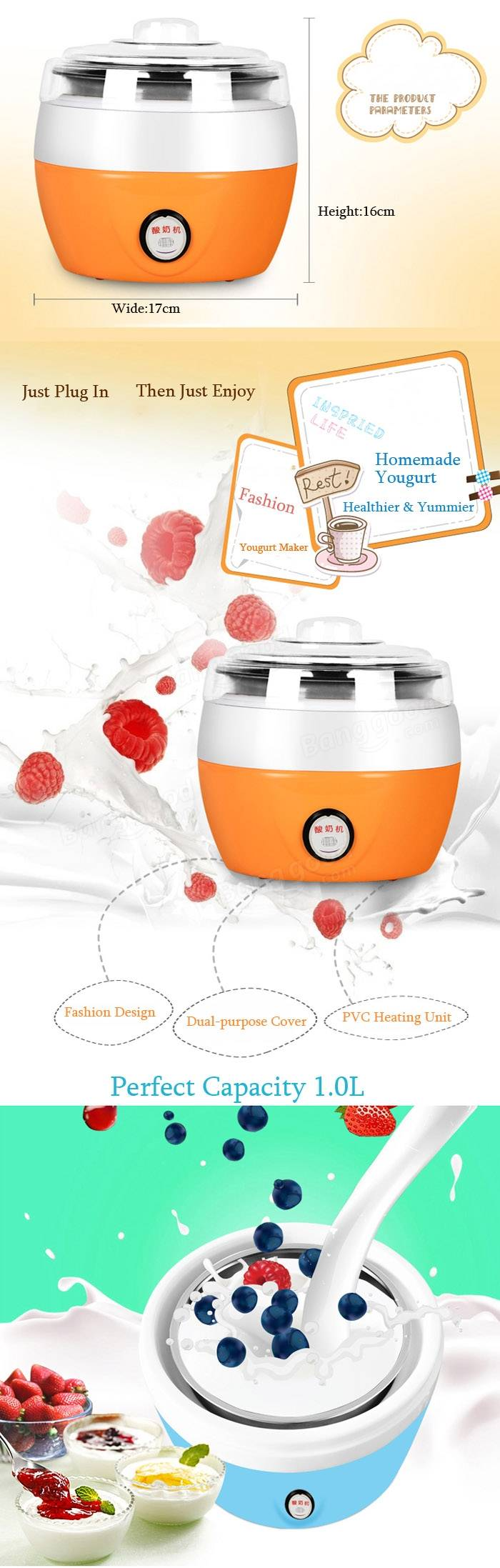 220V Homemade Automatic Yogurt Maker Electric Yogurt Cream Making.