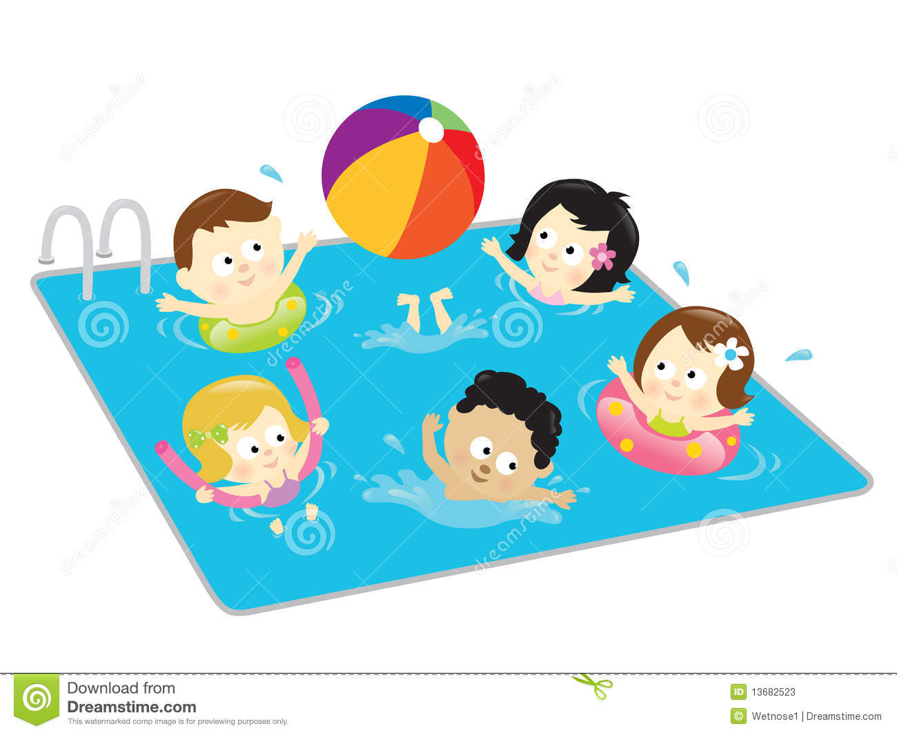 Adult Pool Party Clipart.