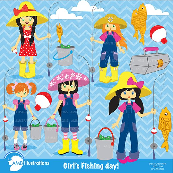 Fishing Girls Clipart AMB.