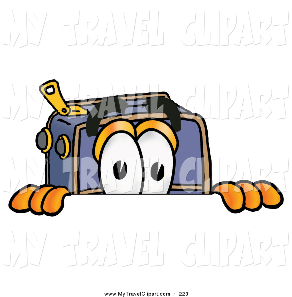 Clipart of a Curious Suitcase Cartoon Character Peeking over a.