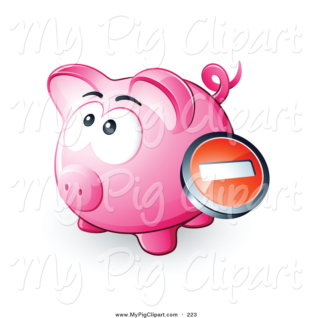 Swine Clipart of a Negative Icon Button over a Pink Piggy Bank by.