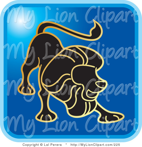 Clipart of a Blue Square Leo the Lion Astrology Icon by Lal Perera.