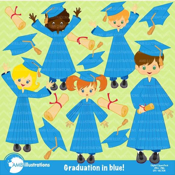 Grad Kids Blue Gowns clipart AMB.