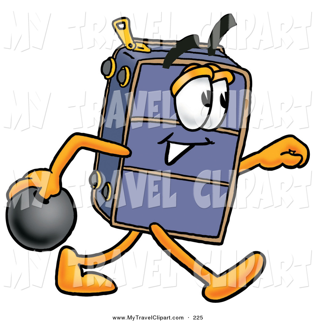 Clipart of a Sporty Suitcase Cartoon Character Holding a Bowling.