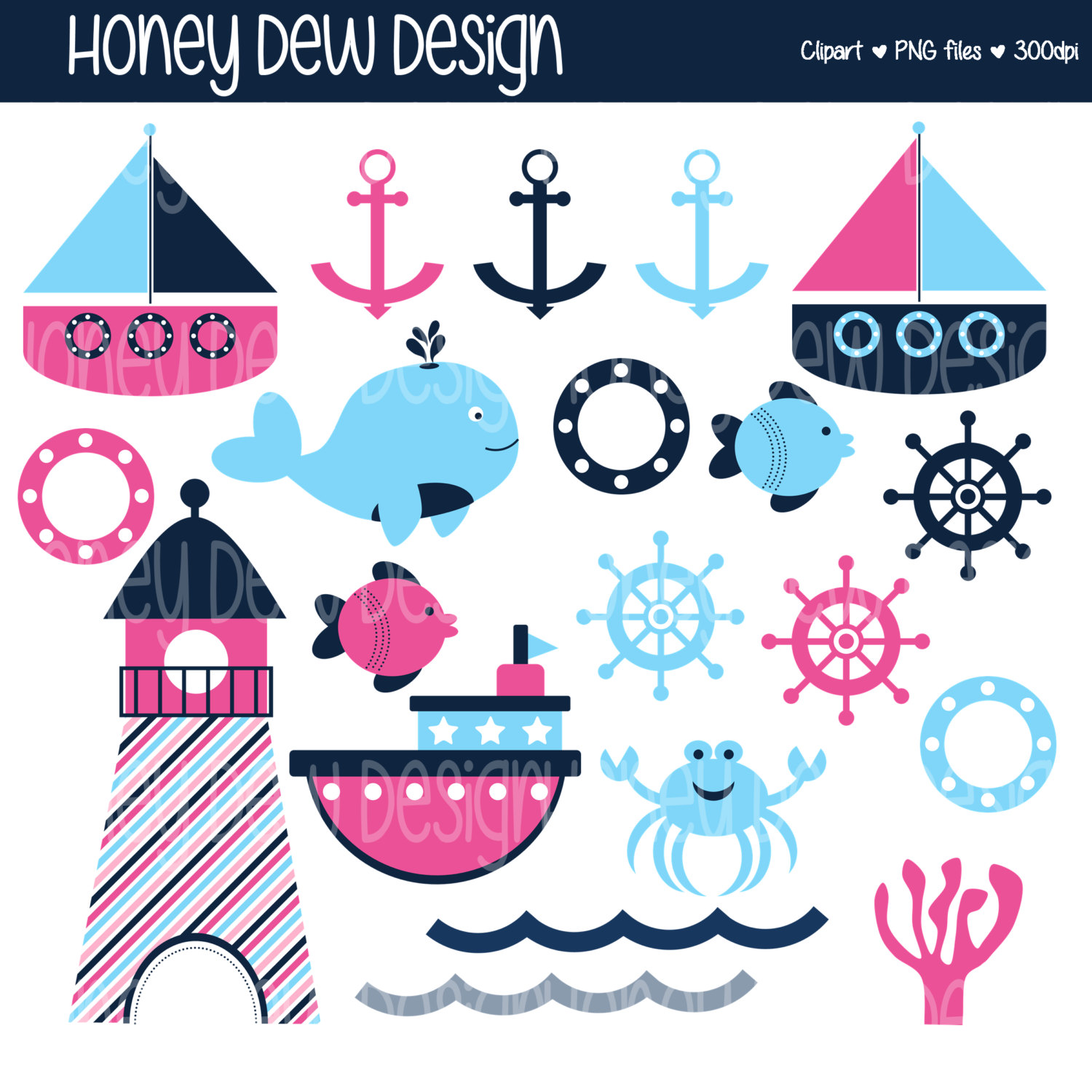 Instant Download Clipart Package 225 Blue and Pink Nautical.