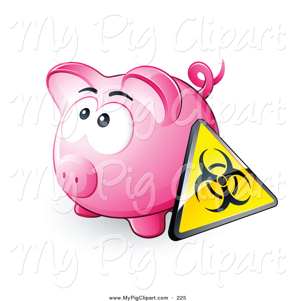 Swine Clipart of a Yellow Biohazard Sign Resting Against a Pink.