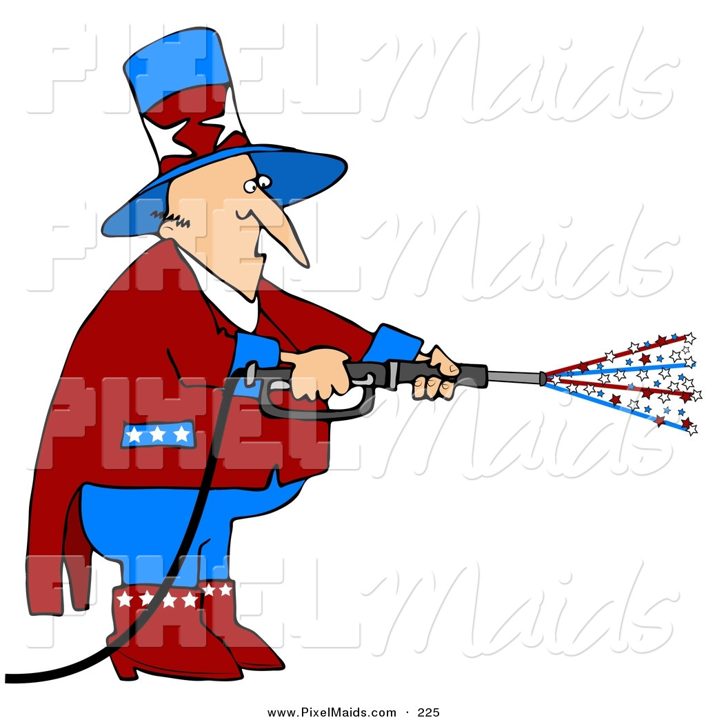 Clipart of a Patriotic Uncle Sam in Red, White and Blue, Using a.