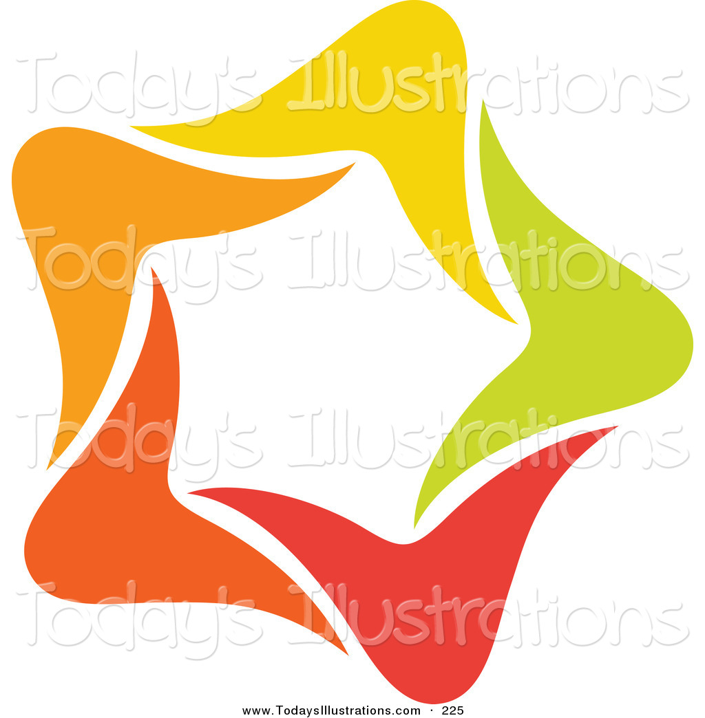 Clipart of an Abstract Orange, Green, Red and Yellow Star Logo Icon.