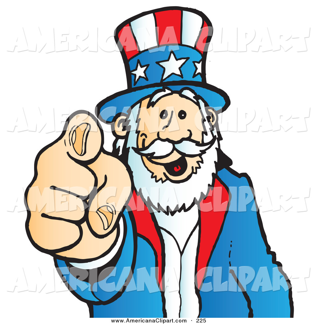 Americana Clip Art of a Uncle Sam Grinning and Pointing Outwards.