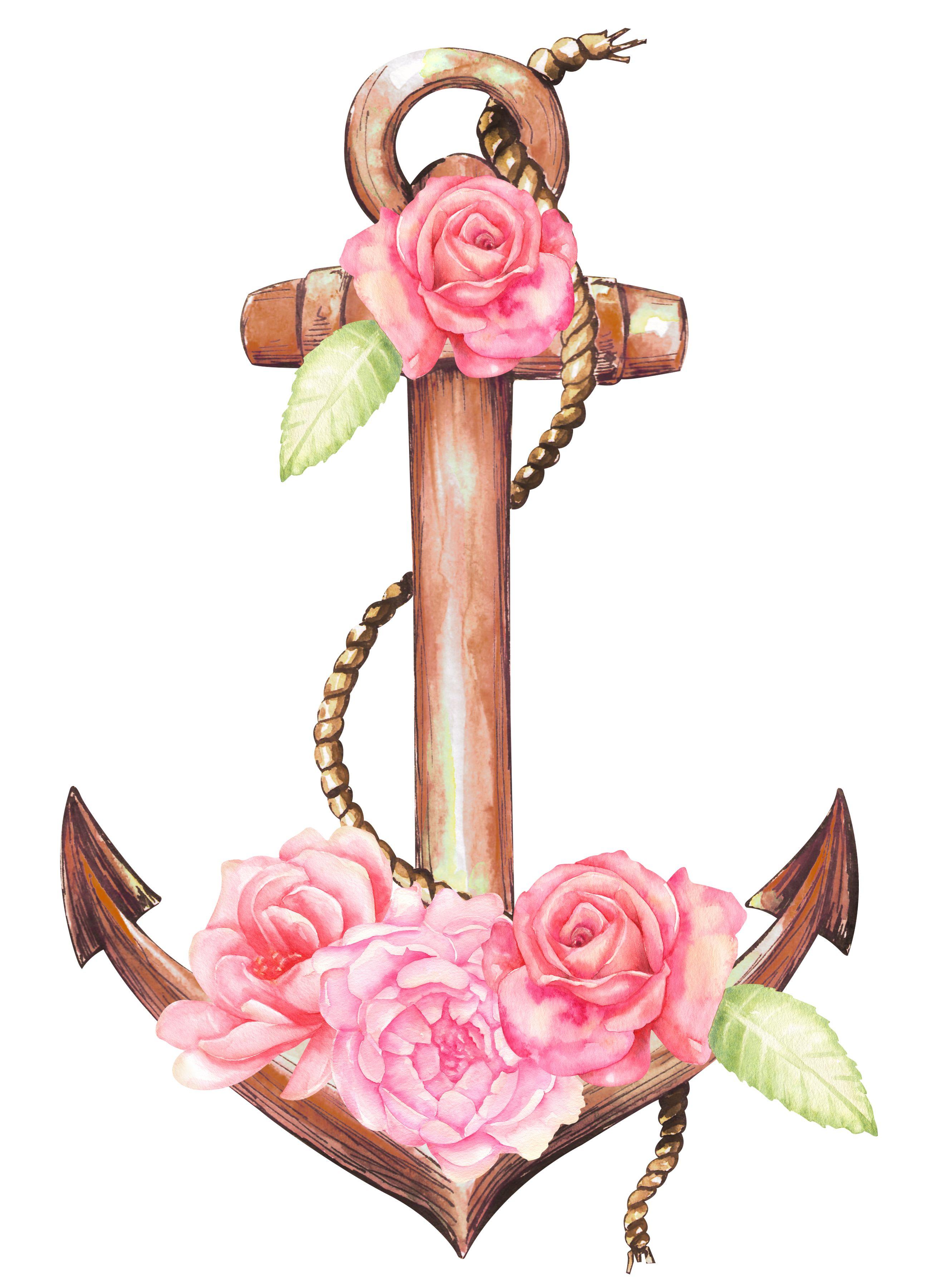 Anchor clipart/ flower clipart/ sea/ nautical clipart/ beach.