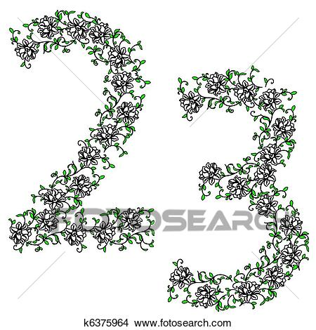 Clipart of Hand drawing ornamental alphabet. Letter 23 k6375964.
