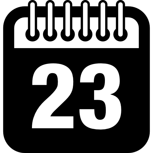 Daily calendar page on day 23 Icons.