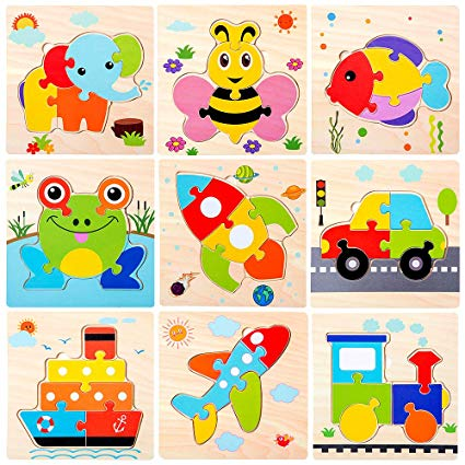 Wooden Jigsaw Puzzles for Toddlers Age 2 3 4 5 Year Old.