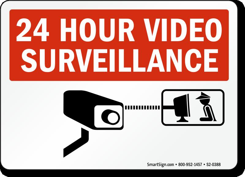 24 Hour Video Surveillance Sign, SKU: S2.