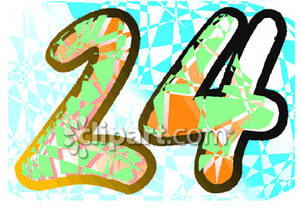 Colorful Number 24 Clipart.