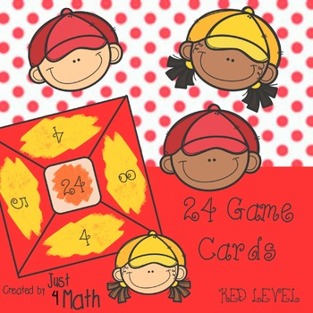 24 Math Game Cards for Beginner RED Level.