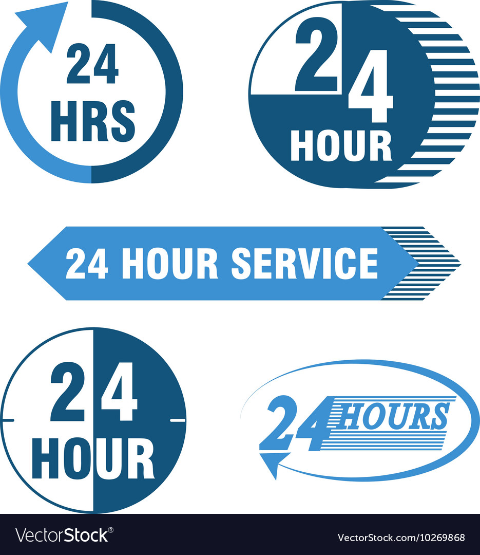 24 hours service logo and icon.