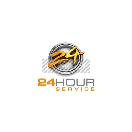 24 Hour 3D brush logo.