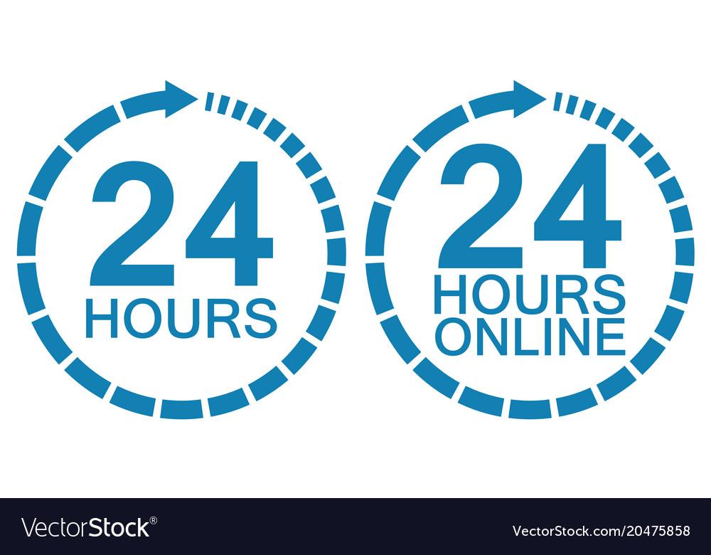 24 twenty four hour clock online service logo.