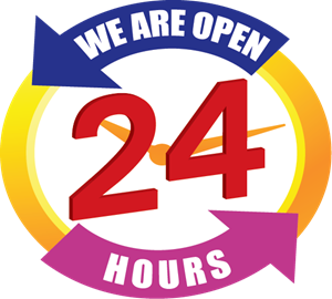 We Are Open 24 hours Logo Vector (.EPS) Free Download.