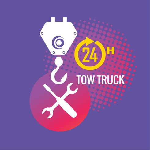 Car tow service, 24 hours, truck , isolated icon or logo on.