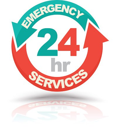 Emergency services 24 hours icon. Clipart Image.