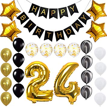 Happy 24th Birthday Banner Balloons Set for 24 Years Old Birthday Party  Decoration Supplies Gold Black.