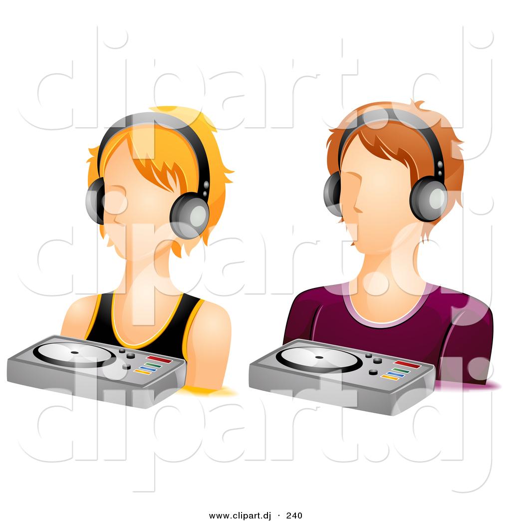 Vector Clipart of a DJ Girl and Boy Avatars.